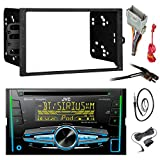JVC KW-R920BTS Double DIN Bluetooth Car Stereo Receiver CD Player Bundle Combo With Metra installation kit for car stereo (Fits Most GM Vehicles) + Wire Harness + Enrock 22'' Radio Antenna With Adapter