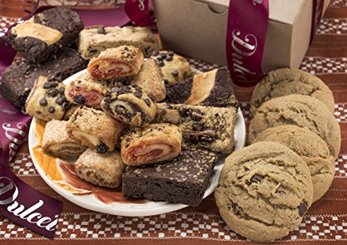 Dulcet's Gift Basket's Assorted Kraft Box Assortment Filled with Cookies, Brownies and Ruggelah.