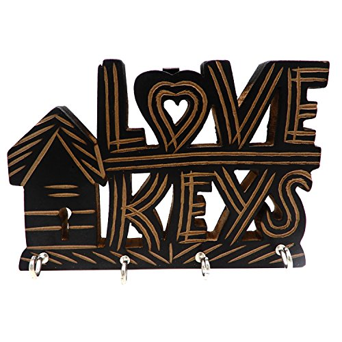 e Wooden Love Keys Design Wall Mounted Key Chain Organizer with 4 Key Hook 7 Inch ()