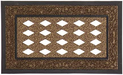 Evergreen Flag Beautiful Brown Cutout Scroll Durable Sassafras Welcome Mat Tray – 32 x 20 Inches Fade and Weather Resistant Outdoor Doormat Tray for Homes, Yards and Gardens