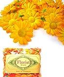 (100) Silk Yellow Orange Gerbera Daisy Flower Heads , Gerber Daisies - 1.75'' - Artificial Flowers Heads Fabric Floral Supplies Wholesale Lot for Wedding Flowers Accessories Make Bridal Hair Clips Headbands Dress