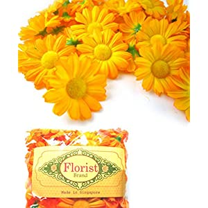 "(100) Silk Yellow Orange Gerbera Daisy Flower Heads , Gerber Daisies - 1.75"" - Artificial Flowers Heads Fabric Floral Supplies Wholesale Lot for Wedding Flowers Accessories Make Bridal Hair Clips Headbands Dress 3"