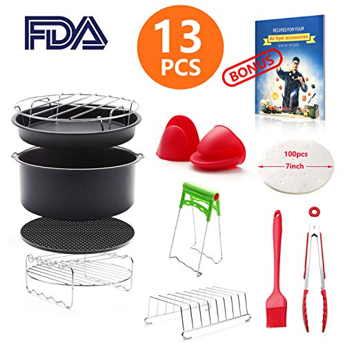 Air General (8 inch General Air Fryer Accessories 13 pieces with Recipe Cookbook Compatible with Philips Gowise USA Cozyna Power Airfryer 4.2QT–5.8QT, Kasmotion Deep Fryer Accessories Set of 13)