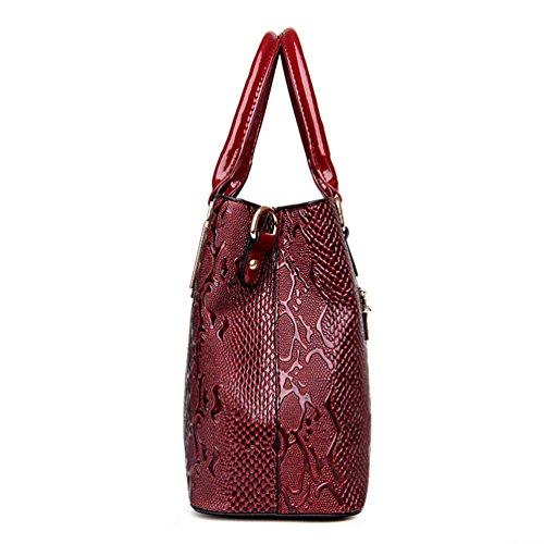 Borsetta Jacquard Donna Pezzi Exquisite Vino 2 Schiocco Colore Casual Pelle Set Portafogli Solido un in di Rosso Dexinx tfZ0dqx0