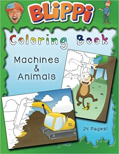 blippi coloring pages Blippi Coloring Book: Animals & Machines: Blippi, Stevin John  blippi coloring pages