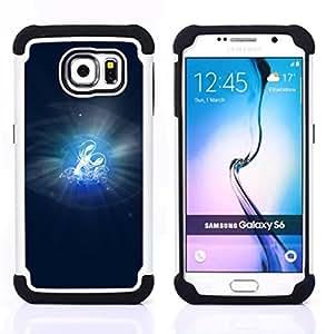 BullDog Case - FOR/Samsung Galaxy S6 G9200 / - / Cancer Zodiac Sign /- H??brido Heavy Duty caja del tel??fono protector din??mico - silicona suave
