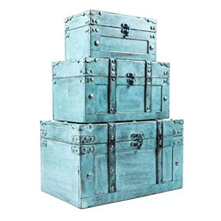 Rustic Country Turquoise Distressed Wood Storage Trunk SET OF 3 Chest Organizer
