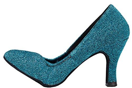 Abby Yfyc-l130 Da Donna Comfort Latino Tango Da Ballo Tacco Medio Raso Professionale Scarpe Da Ballo Blu
