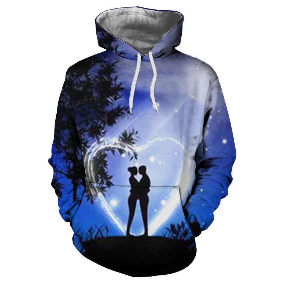 JHGFRT Männer Hoodie 3D Reise Landschaft Print Pullover Frauen Pullover Pullover Leichte Sweatshirt-Tasche,E-XXXL