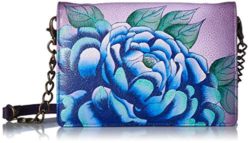 Anna by Anuschka Women's Leather Hand Painted Organizer Wallet | Precious Peony Eggplant, One Size (Receipt Organizer Wallet)
