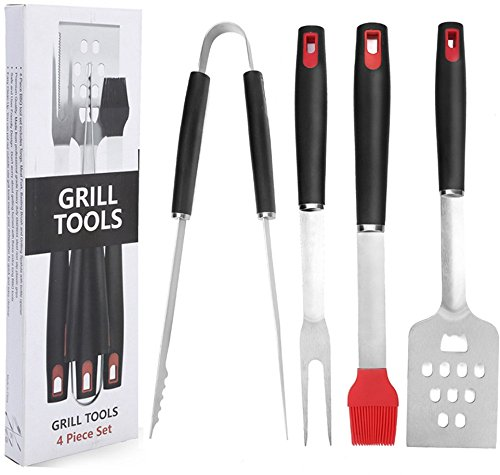 BBQ Grill Tools Set, Homerci 4 Piece Heavy Duty Professional Grill Tools Kit,Grill Spatula, Barbecue Tong, BBQ Fork, Basting Brush, Premium Grilling Accessories, FDA Approved, Best New Year Gift