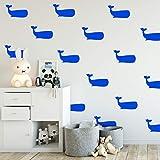"Set of 16 Vinyl Wall Art Decals - Whales - 5"" x 8"" Each - Fun Ocean Home Bedroom Living Room Apartment Nursery Playroom - Cute Little Kids Toddler Teens Indoor Outdoor Decor"