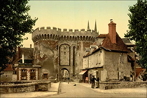 """History Galore 42""""x63"""" Gallery Poster, Guillaume gate, Chartres, France, 1890 Photochrom"""