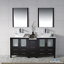 "BLOSSOM 001-72-02-D-1616V Sydney 72"" Double Vanity Set with Vessel Sinks and Mirrors Espresso"