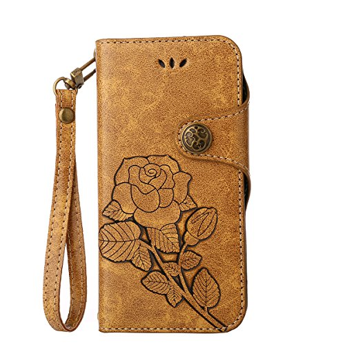 MEIRISHUN Leather Wallet Case Cover Carcasa Funda con Ranura de Tarjeta Cierre Magnético y función de soporte para Apple iPhone 6 Plus/ 6s Plus - naranja Caqui