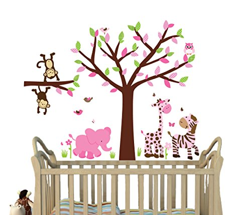 Elephant Decal Set - Safari Spring Jungle Decals, Girl Jungle Stickers, Fabric Tree Decal, Girls Décor