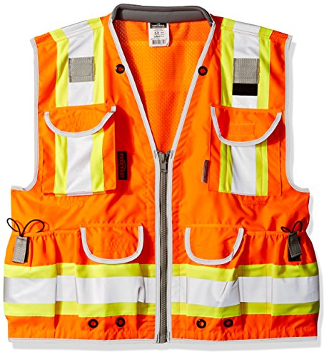 Radians SV55-2ZOD-L SV55 Class 2 Heavy Woven Two Tone Engineer Hi Viz Orange Size Large, (Safety Vest Surveyors)