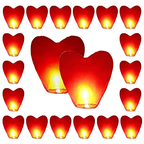 Sky Lanterns, Red Heart Shape Sky Lanterns, Red Heart Eco-Friendly Sky Lanterns for Christmas, New Year, Chinese New Year, New Years Eve, Weddings & Parties ()