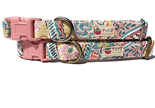 Flower Child - Colorful & Fun Bohemian Seventies Light Pink Pastel Paisley Swirls Floral Flowers Organic Cotton Pet Collar -