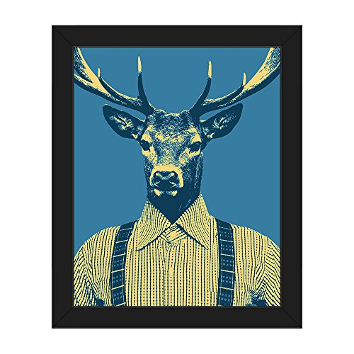 Manly Buck Blue: Anthropomorphic Retro Pop-Art of Man with Deers Head with Antlers Wall Art Print on Canvas with Black Frame