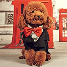 Vedem Small Dog Cat Pet Formal Cotton Tuxedo Costume Shirt Clothes (S)