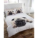 Single Duvet Cover & P/case Bedding Bed Set White Pug Dog Cute Animal by BEDMAKER