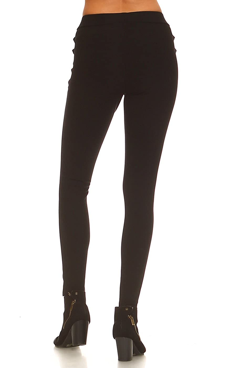 e7ba87a466444 ICONOFLASH Women's Ponte Knit Stretch Skinny Dress Pants with Faux Leather  Accent Detail at Amazon Women's Clothing store: