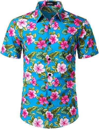 JOGAL Men's Cotton Button Down Short Sleeve Hawaiian Shirt (Blue Floral, X-Large)