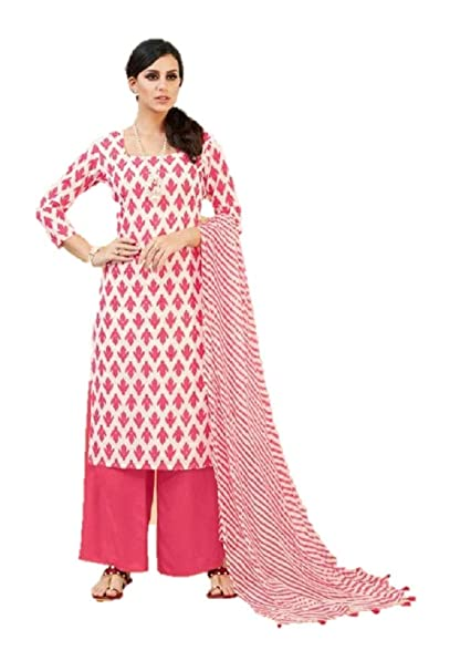 fca3669340 DRAVINAM Trends Women's Cotton Printed unstitched Palazzo suit Dress  Material (Free size, Pink and White): Amazon.in: Clothing & Accessories