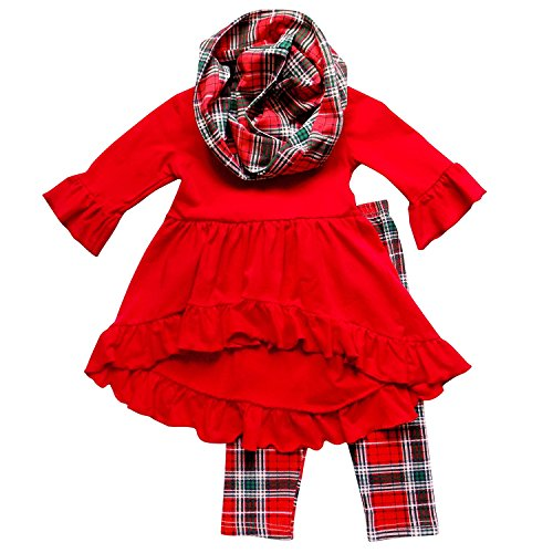 So Sydney Toddler Girls 3 Pc Hi Lo Christmas Holiday Ruffle Tunic Outfit, Scarf (XS (2T), Red Tartan Plaid)