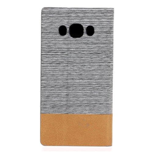 Para la galaxia J5 de Samsung (2016) / J510 Patrón de la textura de la lona PU + TPU Caja horizontal del cuero del soporte del tirón con las ranuras del sostenedor y de la tarjeta by diebelleu ( Color Grey