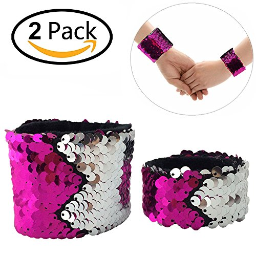 Mermaid Bracelet for Birthday Party Favors Christmas Gifts, Two-color Decorative Reversible Charm Sequins Slap Wristband Strap Band for Kids,Girls,Boys,Women (A(2 Pack), Silver-Rose)