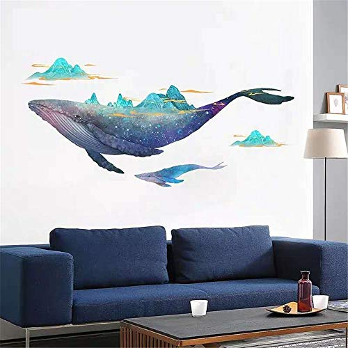 DERUN TRADING Giant Whale Ocean Wall Stickers Decals Decor Art Mural Peel & Stick Graphic for Nursery Kids Room Bedroom Living Room Bathroom Under Water Sea Nautical Theme Beluga Decorations -