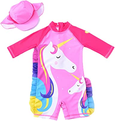 HUAANIUE Baby Toddler Girls Swimsuit Bathing Suit Rash Guards Set with Hat
