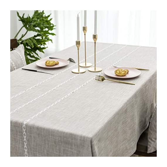"""Home Brilliant Faux Burlap Tablecloth Rectangular Oblong Table Cover for Kitchen Dinning Striped Tabletop Decoration (52 x 72 Inch, Light Linen) - READY MADE: Package contains 1 piece of table cloth: measures width 52"""" x length 72"""" (132cm x 182cm). Due to hand tailor and sewing, 0.5""""-1"""" deviation is allowed. MATERIAL: Home Brilliant table cloths are made of 100% premium polyester but Look just like luxurious linen fabric. This fabric is designed to withstand repeated use and frequent laundering.Please iron after laundering. VERSATILE: Home Brilliant Table Cloth can be used on many places and many occasions: can be used such as kitchen tablecloth, dinning table cloth for daily use, buffet table cover for parties and weddings, outdoor table covers for friends gathering. - tablecloths, kitchen-dining-room-table-linens, kitchen-dining-room - 51sWZ nYbZL. SS570  -"""