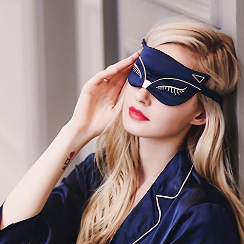 Special Fx Eye (KingLeChange Natural Silk Sleep Eye Mask Light Blocking Comfortable Fox Night Mask with Adjustable Strap - Great For Travel, Shift Work, Nap, Blindfold for Sleeping Girls Women & Kids 1 Pack)