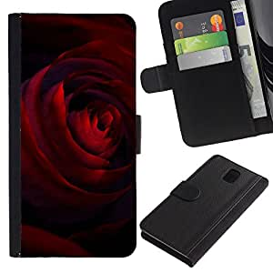 Stuss Case / Funda Carcasa PU de Cuero - Black Dark Red Rose Petals Flower - Samsung Galaxy Note 3 III N9000 N9002 N9005