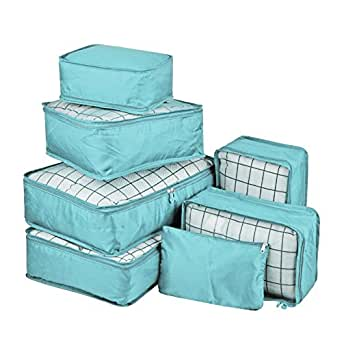 Vercord 7 Set Travel Packing Organizers Cubes Mesh Luggage Cloth Bag Cubes with Bra/Underwear Cube and Shoe Pouch, Blue