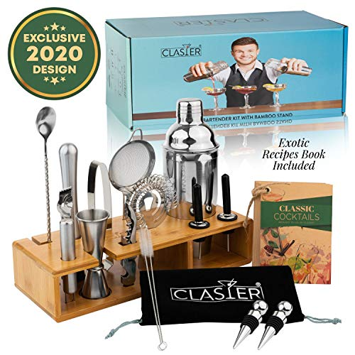 Clasier 19-Piece Bartender Kit with Sleek Bamboo Stand | Professional Stainless Steel Bar Accessories Set | Bar Tools Include Cocktail Shaker, Wine Bottle Opener, Strainer, Recipe Book & More