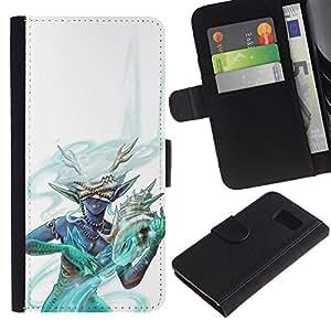 LECELL--Cuero de la tarjeta la carpeta del tirón Smartphone Slots Protección Holder For Sony Xperia Z3 Compact -- Resumen de cuernos Hechicero Mujer --