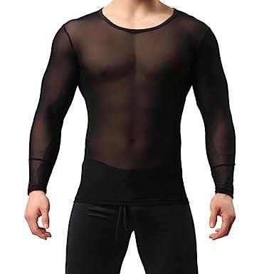 Camiseta transparente Slim fit de manga larga. Opción de colores.