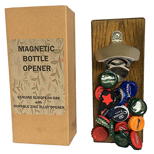 Genevieve Avani Lifestyles Magnetic Bottle Opener with cap catcher - mounted on European Oak. For Fridge or Wall Mounting. Ideal Man Cave Gift and Barware - Accessory Genevieve