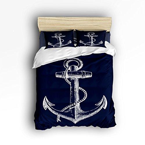 Vandarllin Queen Size Bedding Set- Nautical Navy Blue Anchor Duvet Cover Set Bedspread for Childrens/Kids/Teens/Adults, 4 Piece 100% Cotton