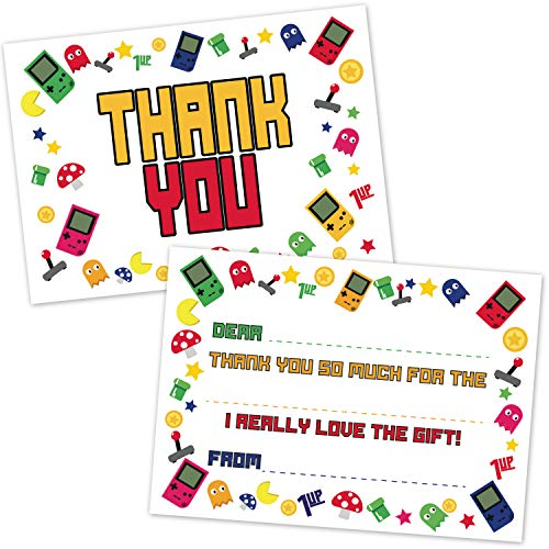Arcade Video Gamer Fill in The Blank Thank You Cards for Kids (20 Count with Envelopes) - Game Truck Party Thank You Notes - Gaming Theme Thanks for Boys and Girls