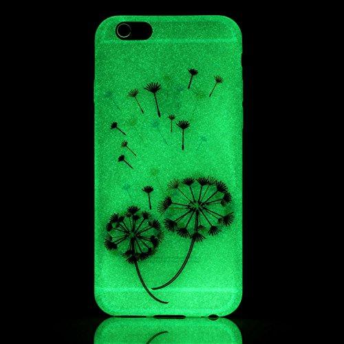 iPhone 6 6S Hülle mit Fluoreszenz , Modisch Farbe Löwenzahn Transparent TPU Silikon Schutz Handy Hülle Handytasche HandyHülle Etui Schale Schutzhülle Case Cover für Apple iPhone 6 6S
