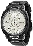Anonimo Mens Military 43 MM Silver Face Dual Time Black Leather Strap Day Date Swiss Mechanical Watch AM120002004A01