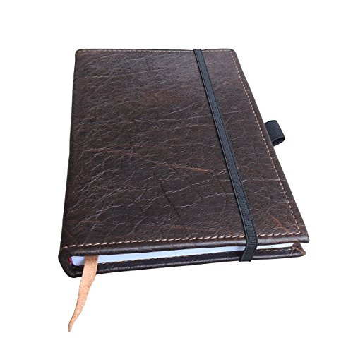 Brown Moleskin (Large Handmade Leather Journal with Pen Loop and Leather Bookmark - 8