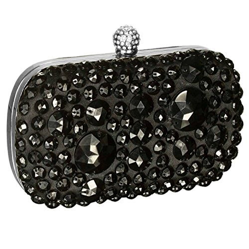 Long Sparkly Boxed Gift Clutch Black Evening Crystal Satin Chain Bag A Boxed With Gift q4Uqzx