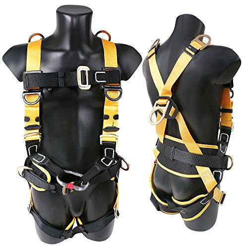X XBEN Comfortable Roofing Fall Protection Safety Harness, 5D-Ring Full Body Fall Arrest Harness for Aerial lift, Ironworker, Scaffolding, Tower, Tree Climbing, Construction