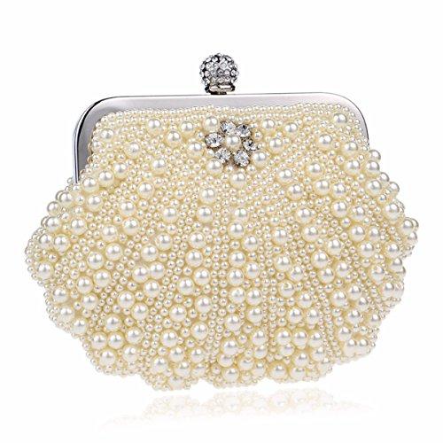 XJTNLB Europea y americana de moda bolso de noche con cuentas bolsa de embrague noche damas Pearl banquete,Arroz blanco Arroz Amarillo